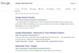 Google Webmaster Tools search results