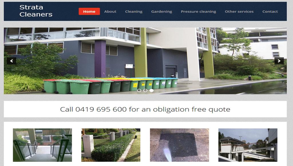 Strata Cleaners website. Web design by Safe Web Hosting