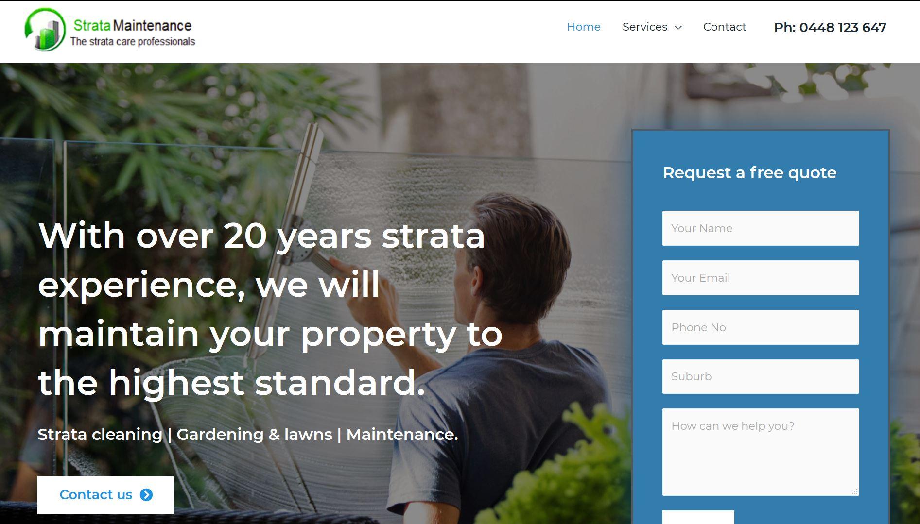 New Strata Maintenance website. Updated web design by Safe Web Hosting