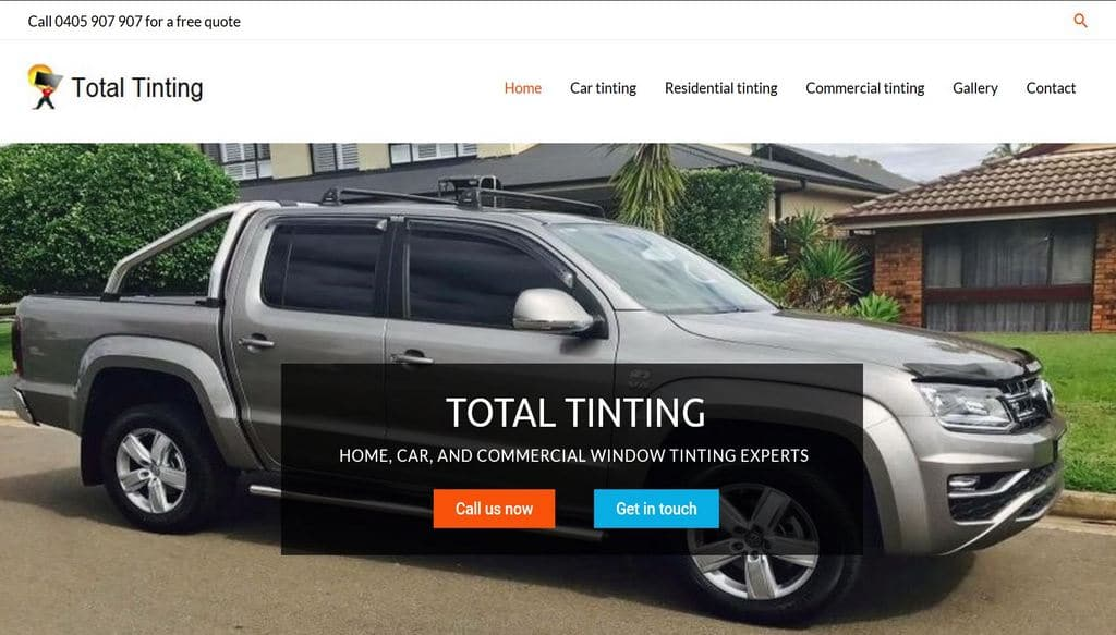 Total Tinting website. Web design by Safe Web Hosting